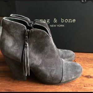 Rag & Bone Grey Margot Fringe Booties